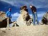 Apart gesleten stenen in de woestijn van Bolivia.