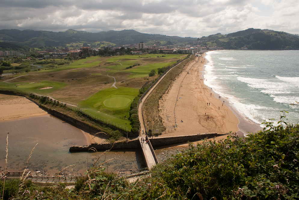 View over the golfcourt and beach of Zarautz